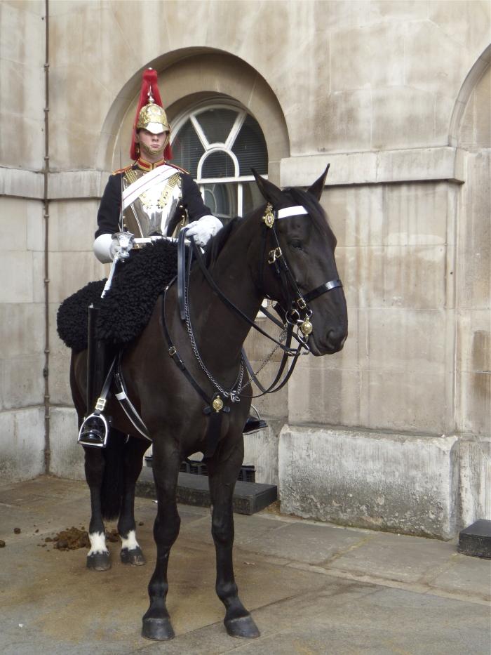Eine berittene Garde des englischen Königshauses in London