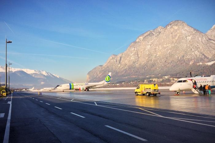 Das Rollfeld des Innsbruck Airport