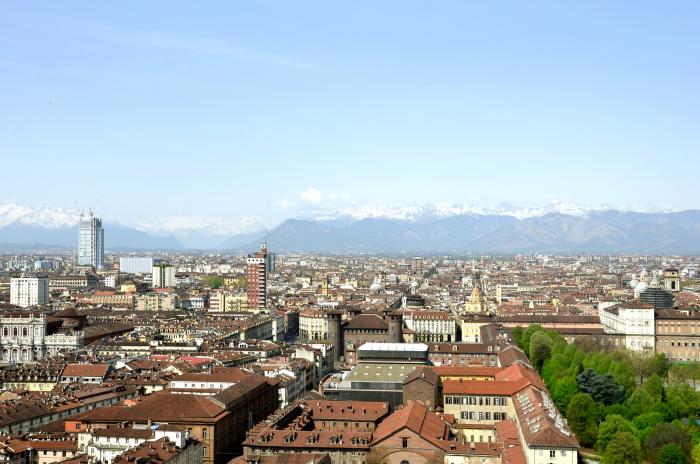 Turin mit den Alpen im Hintergrund
