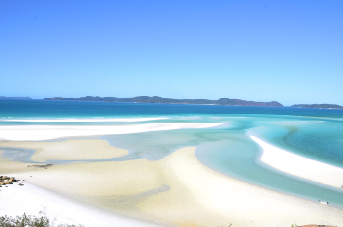 A view from the rocks on Whitehaven on the Whitsunday Islands