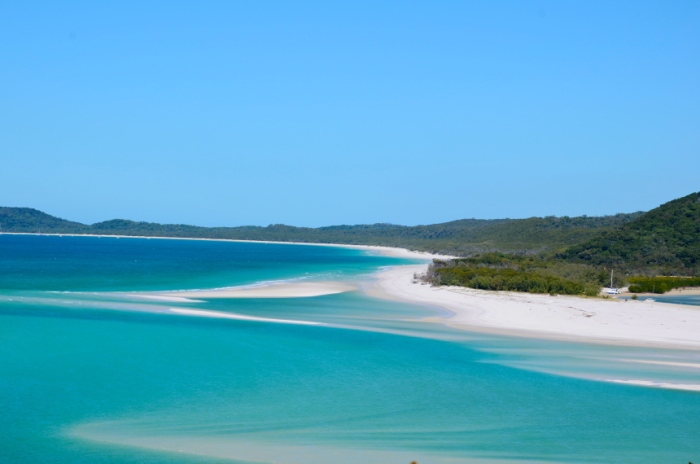 Whitehaven Beach on Whitsunday Islands from up above