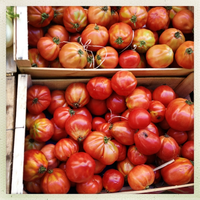 Tomatos on a market in Aix-en-Provence in Southern France.