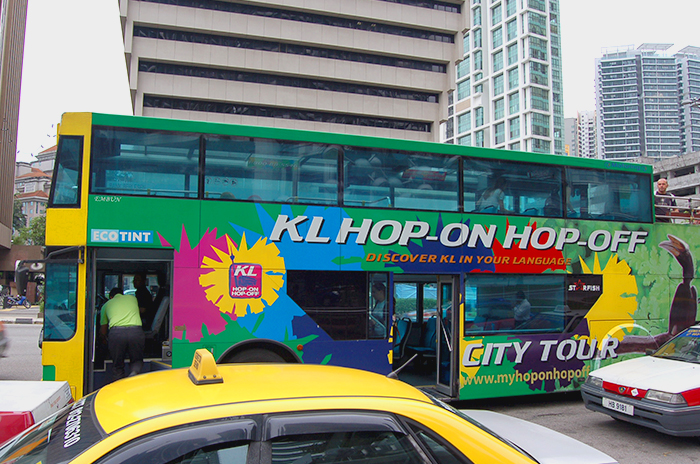 A typical Hop-on hop-off tourist bus in Kuala Lumpur