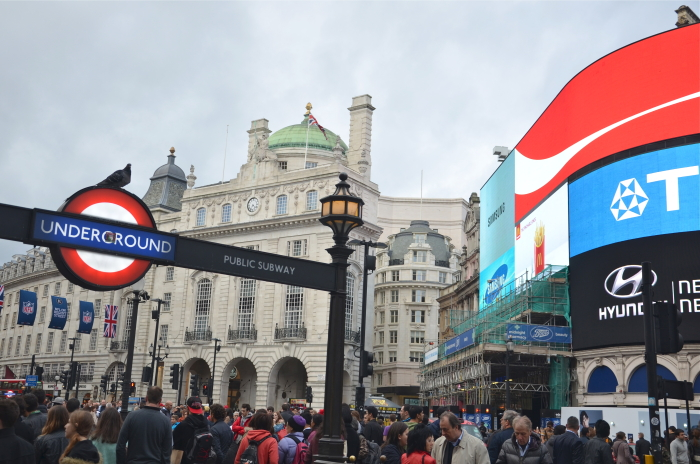 London on a Budget: Underground entrance at Piccadilly Circus
