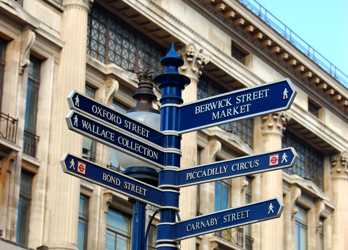 London on a Budget: A signpost showing directions