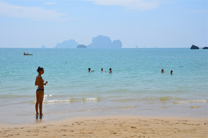 Swimming at Tonsai Beach in Thailand