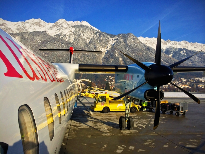An airplane at Innsbruck Airport