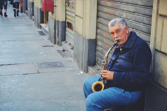 A street musician in Turin