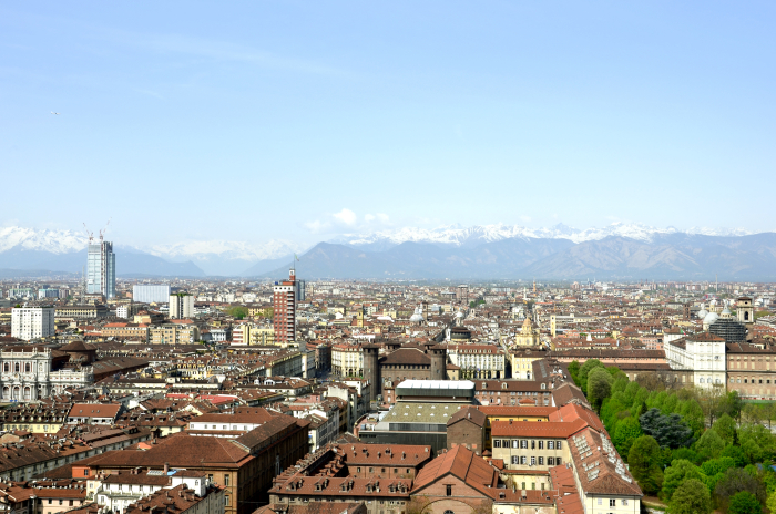 Turin and the Alps in the background
