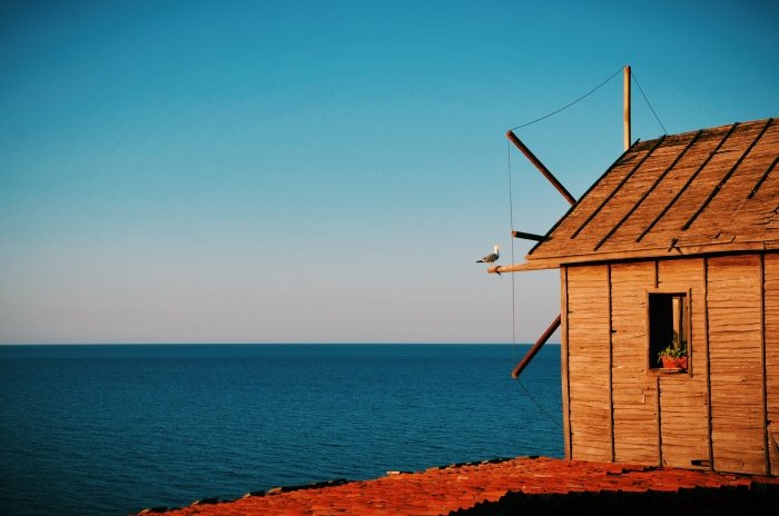 A windmill at the sea in Bulgaria