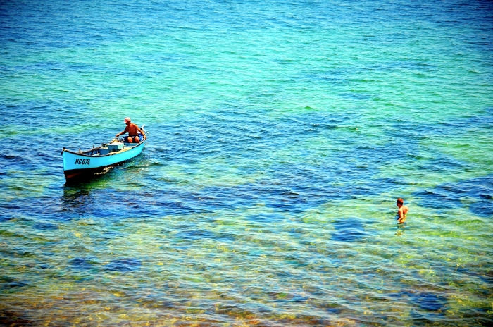 A fisher boat in the sea in Bulgaria