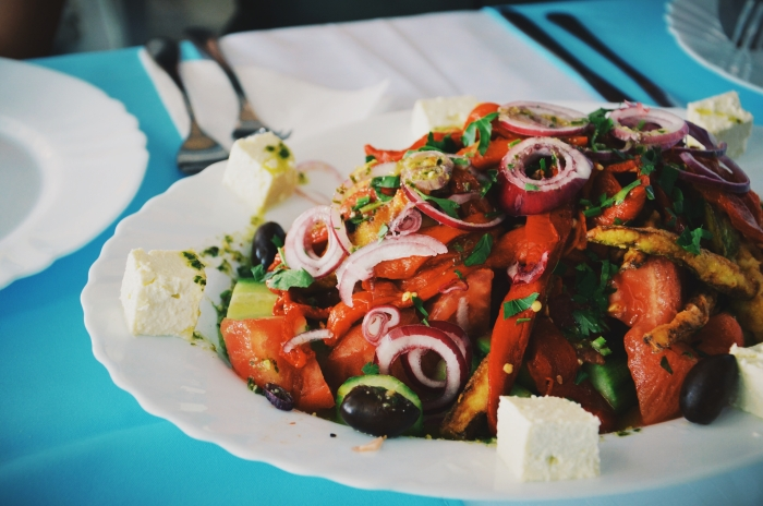 A typical salad in Bulgaria