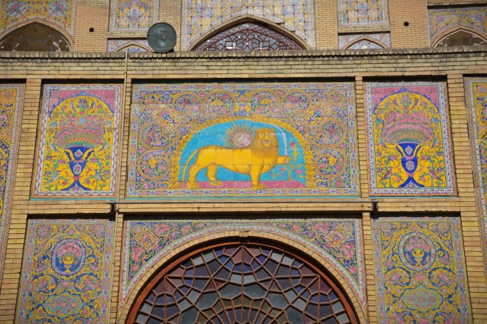 A colorful motif with a lion in the Golestan Palace in Tehran