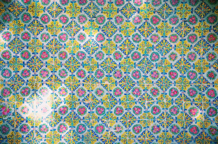 A close shot of colourful tiles in the Golestan Palace in Tehran