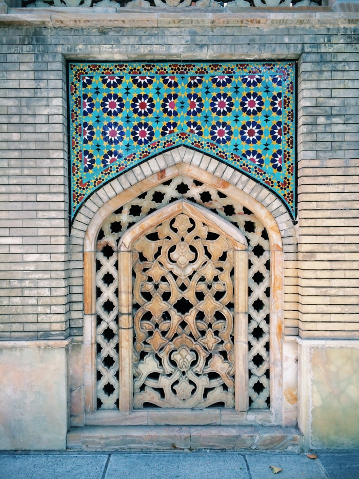 A little framed ornament with colorful tiles in the Golestan Palace in Tehran