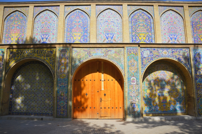 A wooden door in the Golestan Palace in Tehran