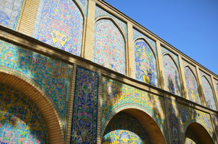 A wall full of motifs in the Golestan Palace in Iran