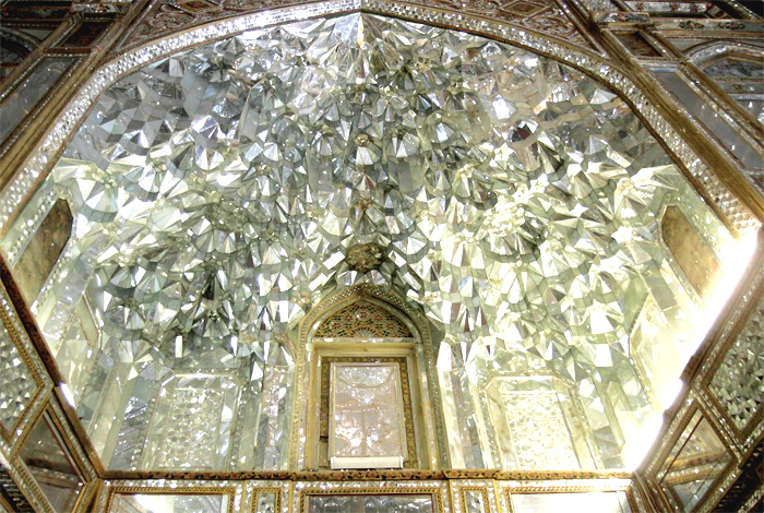 A ceiling made of mirrors in the Golestan Palace in Tehran