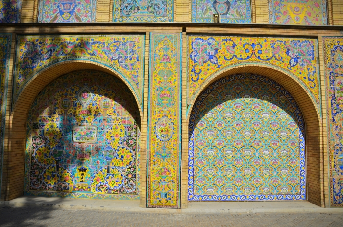 A very detailed ornament with tiles in the Golestan Palace in Tehran