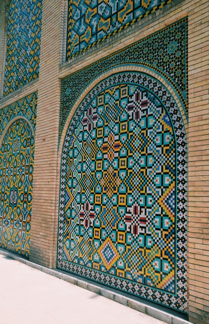 A modern looking wall with tiles in the Golestan Palace in Tehran