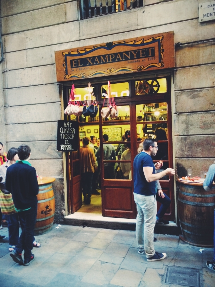 Guests in front of one of the Barcelona Champagne Bar Xampanyeria