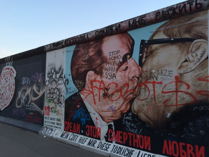 The famous brother kiss at the East Side Gallery in Berlin