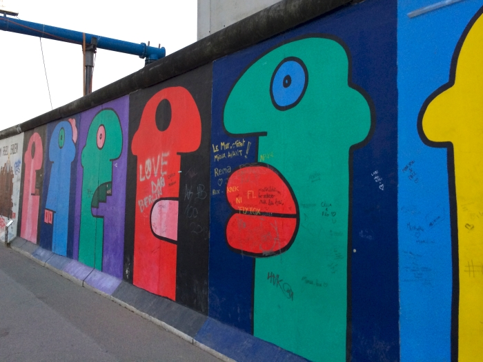 The famous faces painting at East Side Gallery in Berlin