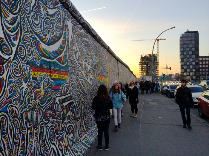 Sunset at the East Side Gallery in Berlin