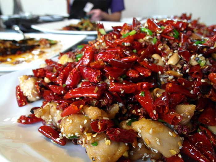 A meal with lots of chili in Peking in China