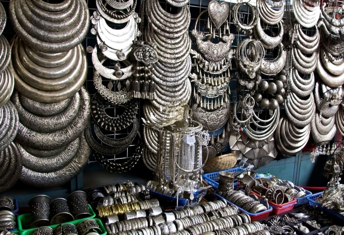 Jewelry at a flea market in Peking in China