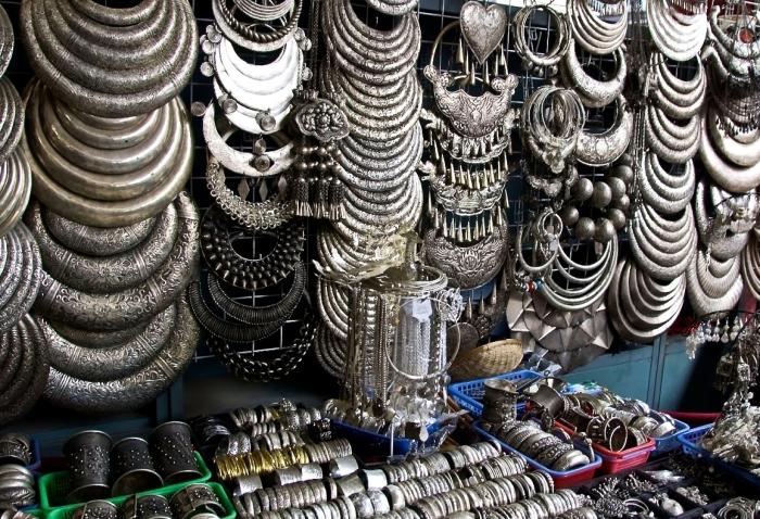 Jewelry at a flea market in Peking in China