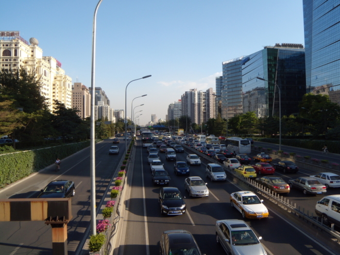 A traffic jam in Peking in China