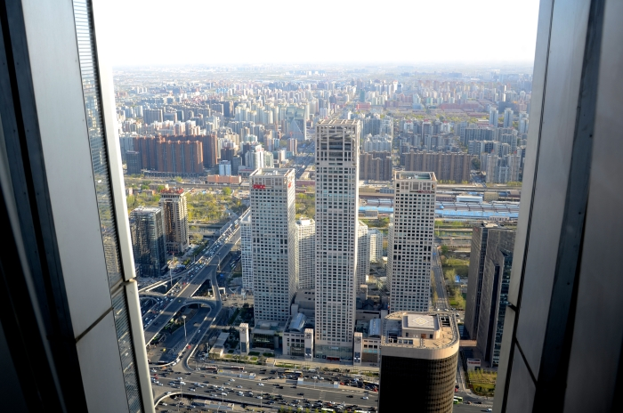 View from a skyscraper in Peking in China