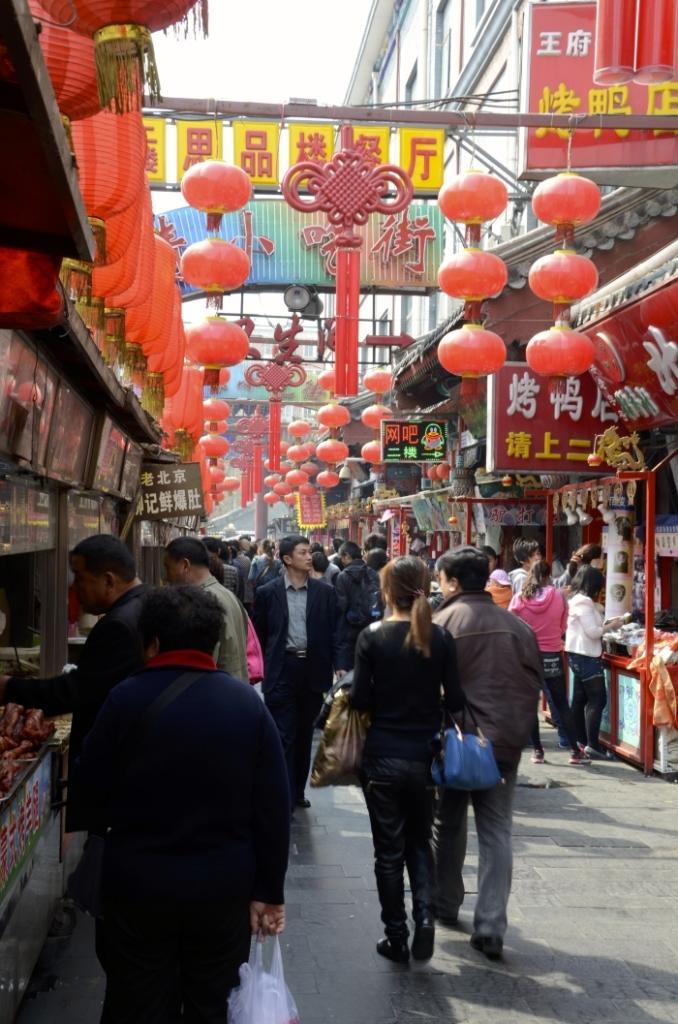 Wangfujing Market in Peking in China
