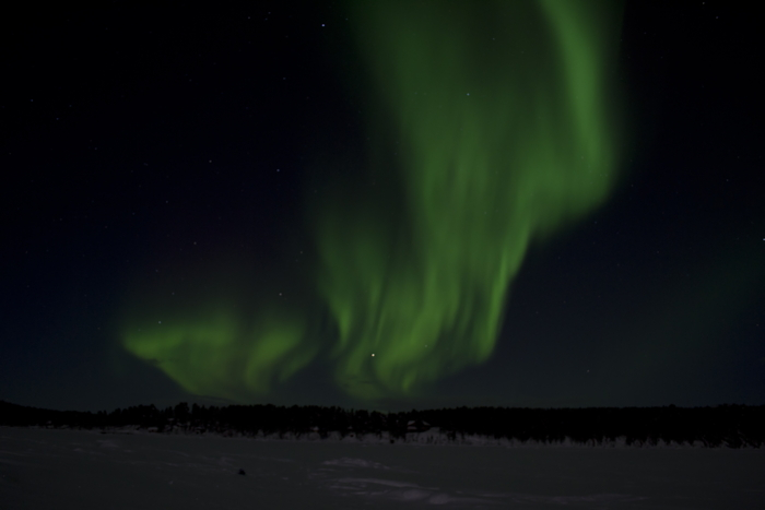 Northern Lights at the sky close to Kiruna in Sweden