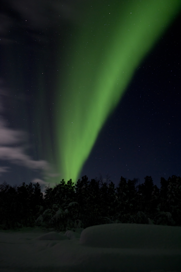 Green Northern Lights at Kiruna in Sweden